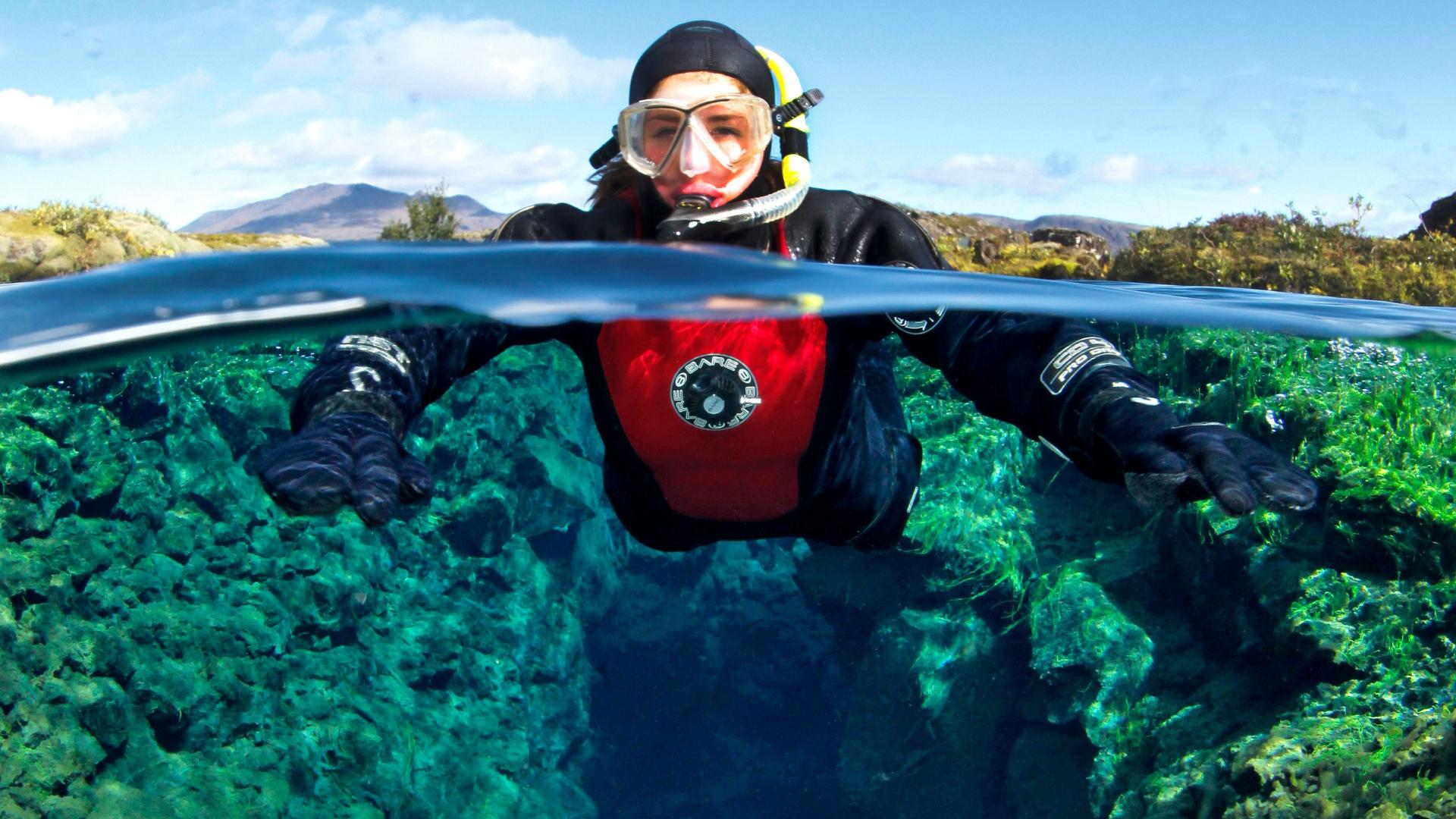 Dry suit snorkeling in silfra w pickup